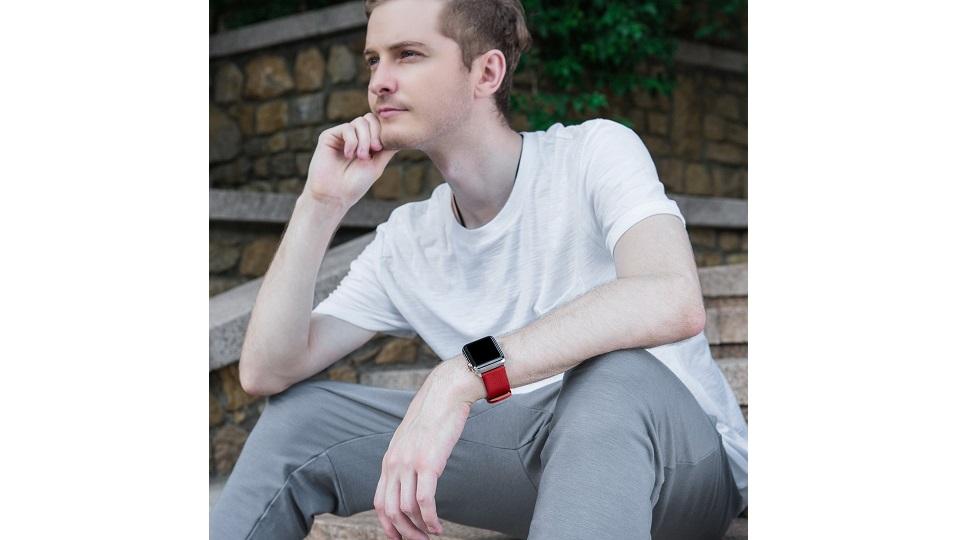 15色真正小牛皮质地Apple iWatch腕带